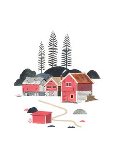 Fine art print using sunlight-resistant inks on cotton mix archival paper. This piece will be printed using state-of-the-art digital giclée printers. Your print will last a lifetime and remain as vibrant as the day it came off the press. Winter Illustration, Forest Illustration, Tattoo Illustration, House Illustration, Japanese Illustration, Norway Tattoo, Voss Norway, Norway Culture, Norway Forest