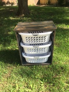 Laundry Basket Holder From Reclaimed Pallets Ana White