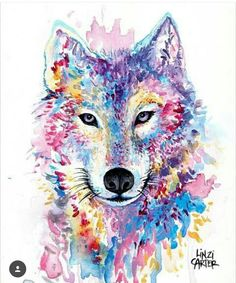 Cute water color wolf