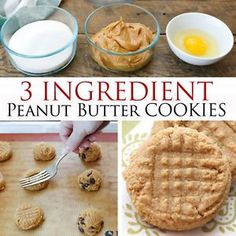 These chewy, dense, Peanut Butter Cookies are an unforgettable memory from my childhood. 3 Ingredient Peanut Butter Cookies are a classic cookie; just an egg, a cup of peanut butter and a cup of sugar. Easy Peanut Butter Cookies, Buttery Cookies, Caramel Cookies, Peanut Better Cookies, Making Peanut Butter, Peanut Butter Snacks, Peanut Recipes, Sem Gluten Sem Lactose, Sans Gluten