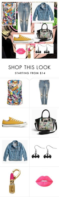 """""""Plus Size Comic Girl"""" by tropicalcassie on Polyvore featuring WearAll, River Island, Converse, Torrid, Lucky Brand, Juicy Couture, Lime Crime and plus size clothing"""