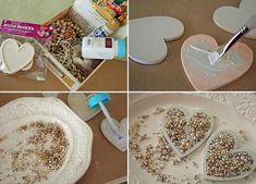 diy valentines day decor ideas home hearts pearls old necklaces