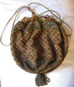 Antique Art Deco Brown Crochet Iridescent Copper Carnival Bead Drawstring Purse #EveningBag
