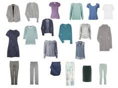 The Vivienne Files: A capsule wardrobe of blue & grey, based on abalone shell jewelry. All together, except for outerwear.