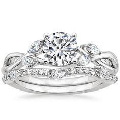 18K White Gold Willow Diamond Ring with Luxe Willow Diamond Wedding Ring (1/3 ct. tw.)