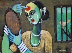"""A village woman busy in make up by Devidas Yewate Price Rs plus shipping Acrylic on Canvas in size : x 18 """" Pichwai Paintings, Simple Canvas Paintings, Indian Art Paintings, Acrylic Paintings, Indian Art Gallery, Indian Contemporary Art, Watercolor Paintings For Beginners, Art Village, Indian Folk Art"""