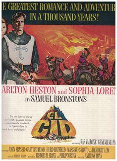 1961 El Cid Movie Ad starring Charlton Heston and Sophia Loren