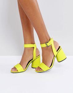 a26124b4f Neon Block Heeled Sandals Neon Sandals