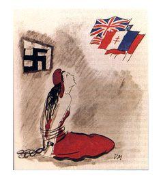 Allégorie de la République française sous les traits de Marianne. Elle porte le bonnet phrygien (voir bonnet phrygien). Avec Jeanne, Marie et Anne étaient les deux prénoms féminins les plus portés par nos ancêtres. Ici, l'affiche date de la seconde guerre mondiale ; elle évoque la France républicaine et démocratique enchaînée et prisonnière de l'Allemagne nazie (En France, le régime de Vichy renie la République). Marianne place donc tous ses espoirs dans les Alliés qui vont mettre tout en…