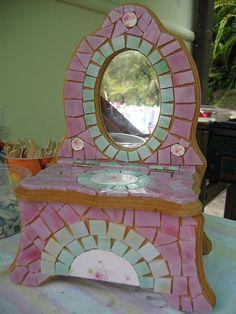 Shabby Chic Mosaic Jewellery Box WIP by lamosaics, via Flickr