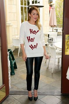 cute statement sweater with leggings