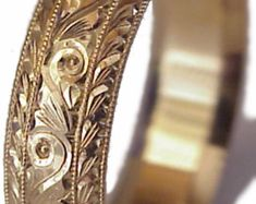 MELISSA- New HAND ENGRAVED Man's Palladium 6mm wide Wedding Band by Aurell. Engraved. Too Much Detail?