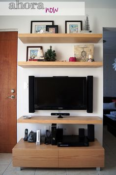 tv wall and floating shelves