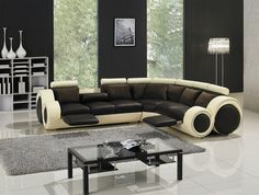 Divani Casa T27C - Sectional Sofa with Recliners
