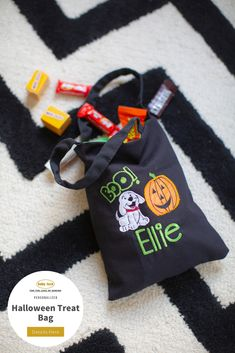 Treat bags are a mandatory part of Halloween, so why not make one that can be used year after year! This bag features applique techniques and basic tote construction. // Project Instructions available through the link // Please use your best judgment when personalizing items for children.