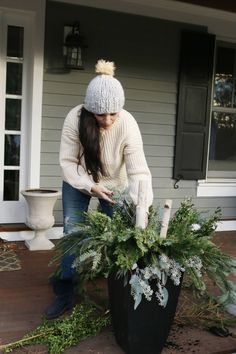 Easy to Make Outdoor Winter Planters with these step-by-step tutorial from Darling Darleen winterplanter Outdoor Christmas Planters, Christmas Porch, Outdoor Planters, Outdoor Christmas Decorations, Rustic Christmas, Christmas Holidays, Winter Decorations, Garden Planters, Christmas Ideas