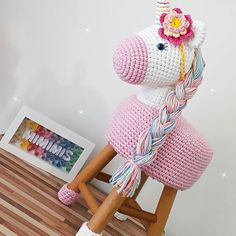 70 Trendy Ideas For Crochet Pillow Animal Yarns Crochet Diy, Crochet Pillow, Crochet Home, Crochet For Kids, Crochet Crafts, Crochet Projects, Crochet Unicorn, Unicorn Crafts, Sewing Toys