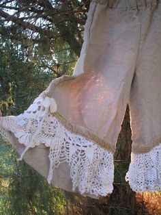 natural oatmeal linen lace girls bloomers by fadedwest on Etsy
