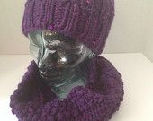 Handmade Knit hat and cowl scarf set cables and sparkles teen adult women's Christmas gift present Birthday gift present