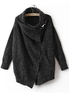 Black Irregular Pockets Draped Collar Loose Blend Sweater