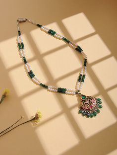 Buy online Necklaces - Emerald and pearl beaded gold necklace from Jaypore Gold Jewellery Design, Bead Jewellery, Beaded Jewelry, Beaded Necklace, Gold Necklace, Beaded Bracelets, Pearl Jewelry, Antique Jewelry, Gold Jewelry