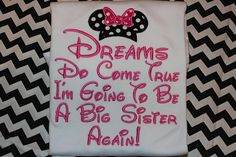 Big Sister to be Minnie Mouse pregnancy announcement- baby bodysuit, tshirt, or ruffle dress- Dreams do come true Disney Gender Reveal, Disneyland Vacations, Announcement, Minnie Mouse, Pregnancy, Sisters, T Shirts For Women, Trending Outfits, Big