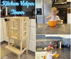Once my daughter started walking around, we wanted to get her a Kitchen Helper Tower (also referred to as a Learning Tower) so she could be at counter height and. Toddler Kitchen Stool, Kitchen Step Stool, Kitchen Stools, Diy Kitchen, Step Stools, Wood Projects For Kids, Woodworking Projects For Kids, Diy Woodworking, Diy Projects
