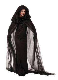 ef3d1d785877d Haunted Black Cape   Dress Hood Costume Halloween Accessory Adult Women  Ghost