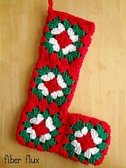 Free tutorial for crocheting and joining this granny square stocking, by Fiber Flux.