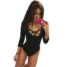a26a56b33e5f Bodycon Jumpsuit Bodysuit Women Shorts Playsuit Rompers Macacao Feminino Sexy  V-neck Lace Up Long