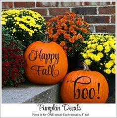 Pumpkin Decals Happy Fall Decal Boo Decal by CustomVinylbyBridge