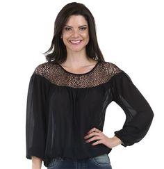 Blusa feminina em chiffon recorte em renda
