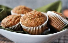 Healthy Applesauce Carrot Muffins {a. Carrot Cake Muffins} - Good idea for daycare birthday cupcakes frosted with cream cheese frosting Healthy Carrot Muffins, Carrot Cake Muffins, Bran Muffins, Power Muffins, Apple Muffins, Muffin Recipes, Baby Food Recipes, Breakfast Recipes, Cooking Recipes