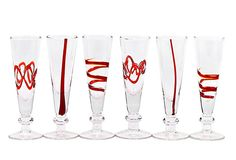 Set of 6 - Red Crazy Cordial Glasses  $35.00