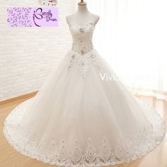 Cheap dresses backless, Buy Quality gown dress directly from China gown uk Suppliers: Vivian's Bridal Luxury Beaded Princess Tulle Ball Gown Wedding Dresses Vestido De Noiva Floor Length Bridal Wedding Gowns Perfect Wedding Dress, White Wedding Dresses, Tulle Ball Gown, Ball Gowns, Bridal Gowns, Wedding Gowns, Dream Dress, Marie, Floor