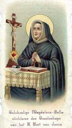 Santa Magdalena Sofía Barat rezando al corazón de Jesús