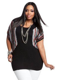 Ashley Stewart Women`s Ribbed Multi-Striped Sweater - List price: $34.50 Price: $24.99 Saving: $9.51 (28%) + Free Shipping