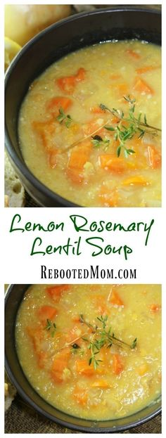 Fresh carrots, bell pepper, lemon and rosemary combined with red lentils create this easy and savory soup.