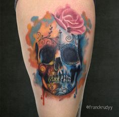 Watercolor skull tattoo with rose by Frank Rudy
