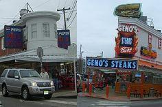 Gino's vs Pat's - Philly Cheesesteak Challenge, Philadelphia, Pa  (We like Pat's better)
