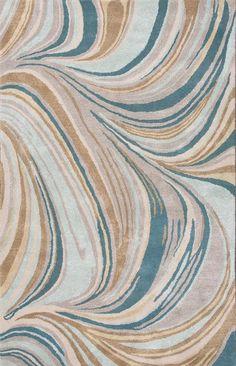 Cascade Blue & Tan Abstract Area Rug