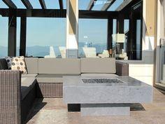 Grey Fire Table Deck Furniture, Outdoor Furniture Sets, Outdoor Decor, Fired Earth, Fire Table, Fire Bowls, Deck Design, Concrete, Patio