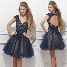 Vestido de Festa Curto 2014 Free Shipping Backless Cap Sleeve Homecoming Dresses Junoirs Party Cocktail Dresses Online Shopping $144.37