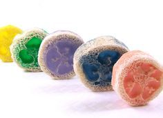 Sliced loofah exfoliating soap...no molds needed