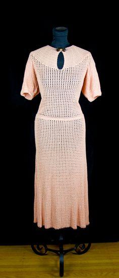 1930s Dress // Peach Crochet Boucle Rayon Yarn Dress