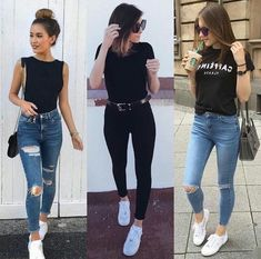 Source by chinodivi casuales juvenil tenis Cute Casual Outfits, Simple Outfits, Stylish Outfits, Fall Outfits, Fashion Outfits, Black Tee Outfit, Outing Outfit, Europe Outfits, Quoi Porter