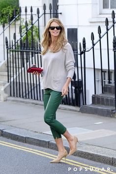 Elle Macpherson wearing green cropped pants in London. One of The 25 Model Moments That Wowed Us in 2016 — Off the Catwalk