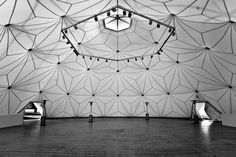 Charter-Sphere dome tent designed by architect and engineer Thomas C. Howard of Synergetics, Inc and Charter Industries, Inc.
