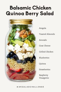 Flavorful Balsamic Chicken Berry Quinoa Salad with a sweet & tangy raspberry vinaigrette! This healthy meal prep salad is protein-packed with fresh berries, creamy goat cheese, and crunchy almonds in Healthy Meal Prep, Healthy Recipes, Meal Prep Salads, Healthy Lunches, Quinoa Salat, Mason Jar Meals, Mason Jar Lunch, Salad In A Jar, Balsamic Chicken