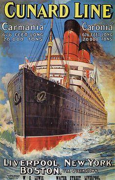 TX147 Vintage Cunard Line Carmania Caronia Cruise Travel Poster A1/A2/A3/A4